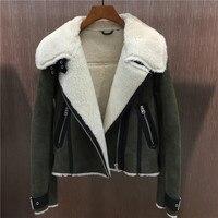 2018 зимние женские модные овчины Натуральная кожа Копировать шерсть внутри байкерская куртка пальто