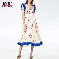 Jastie Boho Crop Top/Tassel hem Two Piece Dress Ethnic Embroidery Cotton Women Dress Casual Beach Holiday Dress Midi Vestidos