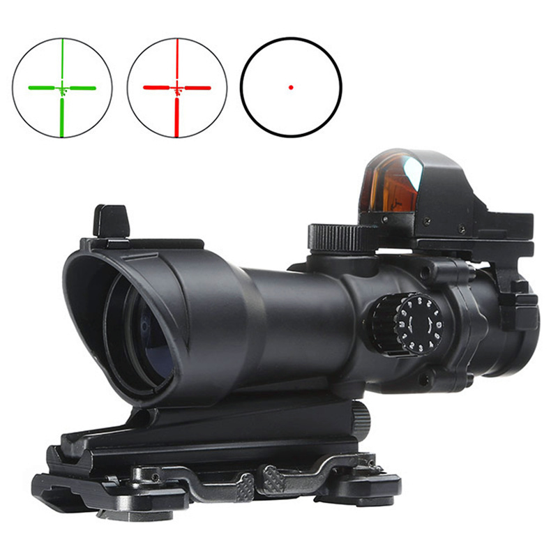 Aim Acog 4X32 Scope Red Green Reticle With QD Mount & Mini Red Dot Sight Sniper Riflescope Hunting Shooting Rifle Scope AO5321 compact m7 4x30 rifle scope red green mil dot reticle with side attached red laser sight tactical optics scopes riflescope