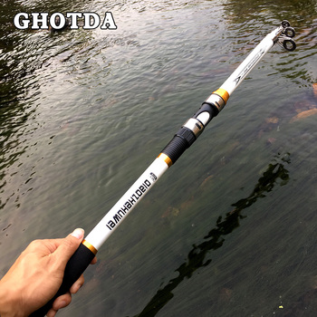 Carp Fishing, Rod feeder Hard FRP Carbon Fiber Telescopic Fishing Rod fishing pole 2.1M -3.6M 9