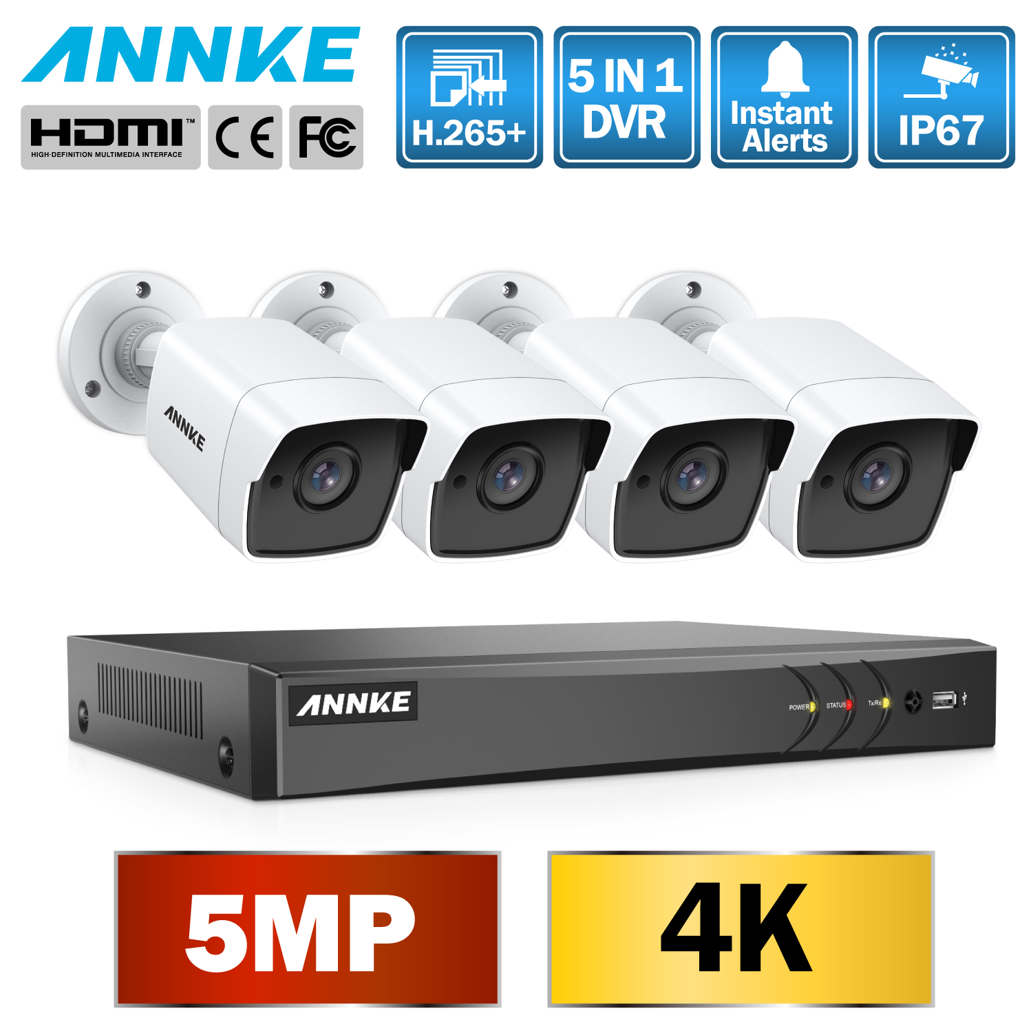ANNKE 8CH 5MP Ultra HD CCTV Camera System 5IN1 H 265 DVR With 4PCS 5MP TVI