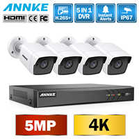 ANNKE 8CH 5MP Ultra HD CCTV Camera System 5IN1 H.265+ DVR With 4PCS 5MP TVI Weatherproof White Security Surveillance System