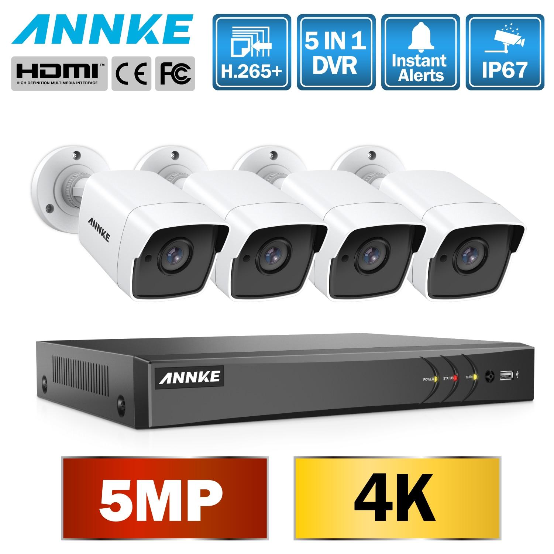 Sistema de cámara de CCTV ultradelgado de 5 MP, 5 en 1 H.265 + DVR con 4 piezas 5MP TVI DE SEGURIDAD blanca a prueba de intemperie sistema de vigilancia-in Sistema de vigilancia from Seguridad y protección    1