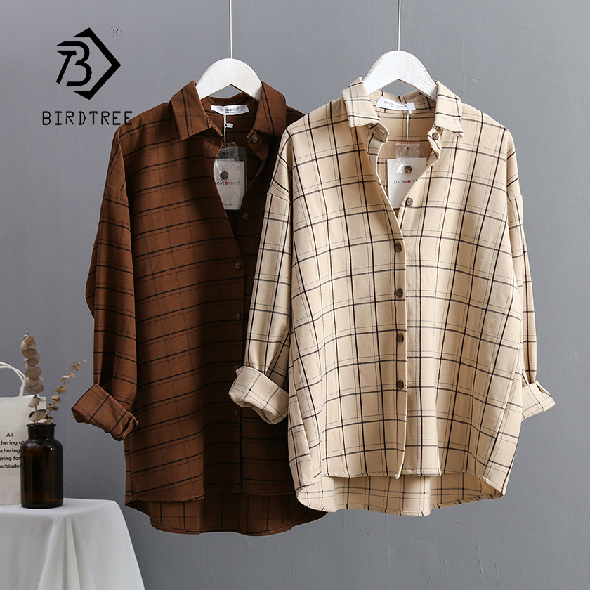 New Arrival Women Plaid Oversize Blouse Batwing Sleeve Front Short Back Long Shirt Turn-Down Collar Casual Top T96601F