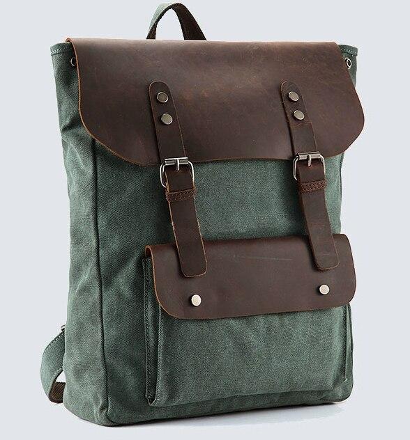 Vintage Leather military Canvas backpack Men s backpack women school backpack school bag 2016 bagpack rucksack