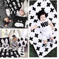 Baby Blanket Newborn Fleece Black White Rabbit Cross Kids Bedding Sofa Cobertores Mantas BedSpread Bath Towels