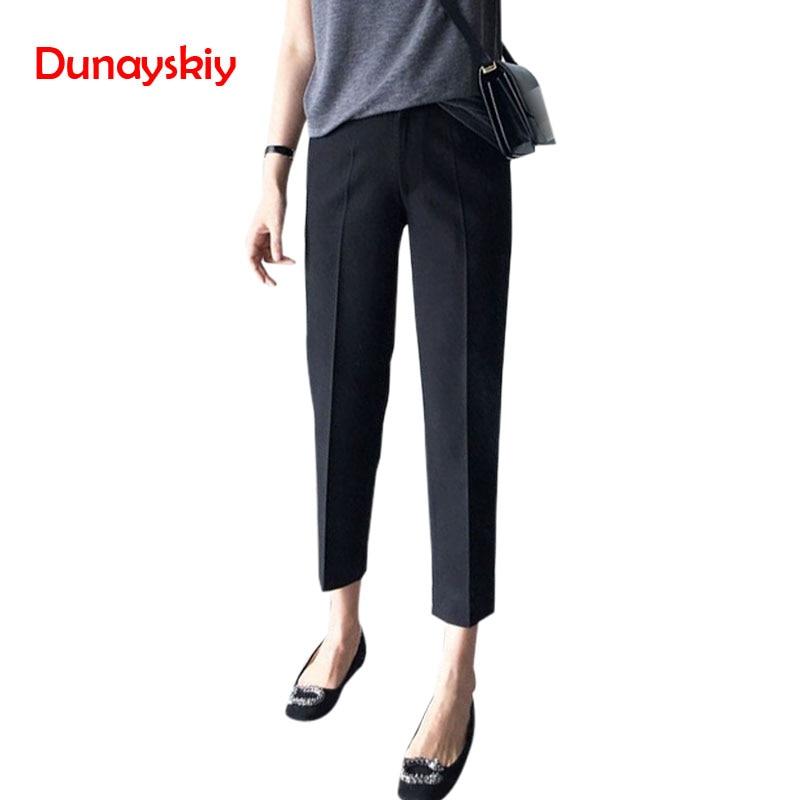 Summer Straight Loose Trousers High Waist Office Lady Slim   Capris   Plus Size Suit   Pants   4XL 3XL Black Female