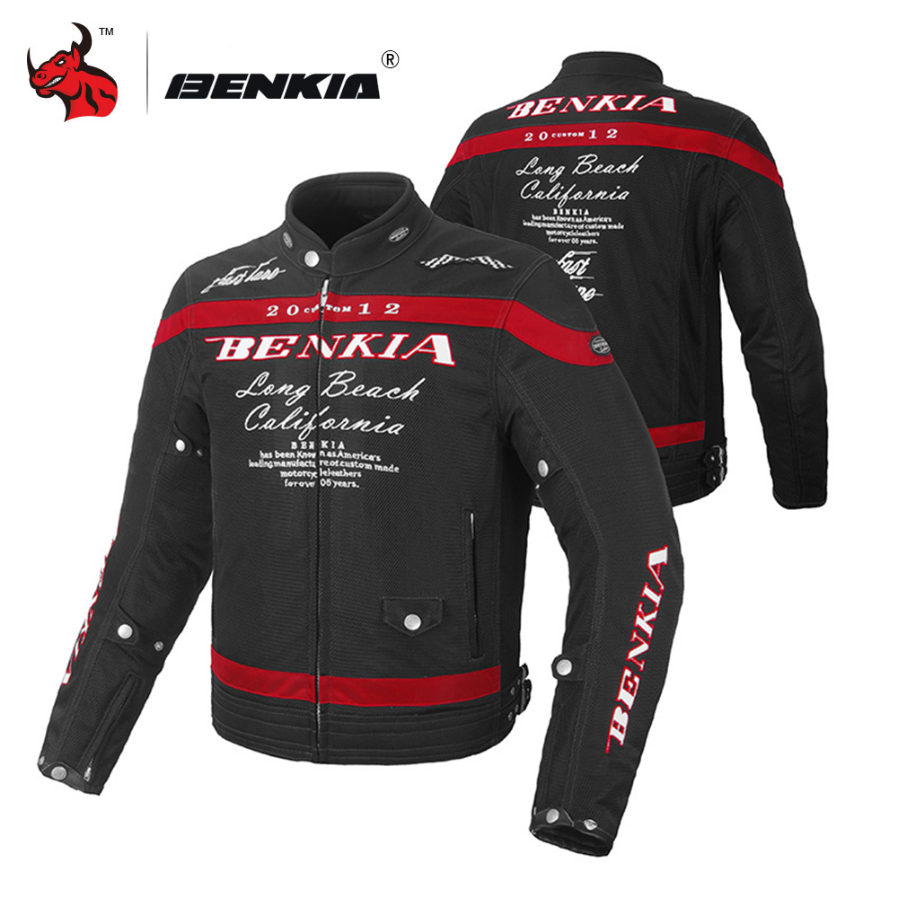 BENKIA Men Motorcycle Jacket Spring Summer Autumn Protective Gear Clothing Breathable Mesh Racing Riding Moto Jacket