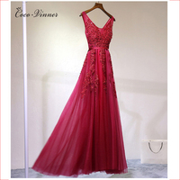 C V 2017 Red Color Long Lace Evening Banquet Dress Long Design Slim Fashion Bride Evening