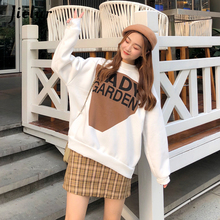Jielur New Winter Autumn Hoodies White Letter Print Sudadera Mujer Loose Sweet Chic Korean Style Fashion For Women