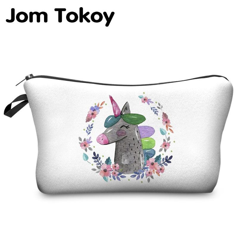 Jom Tokoy 2018 unicorn 3D Printing Cosmetic Bag Fashion Women Brand makeup bag jom tokoy 3d printing unicorn makeup bags multicolor pattern cute women cosmetic bag
