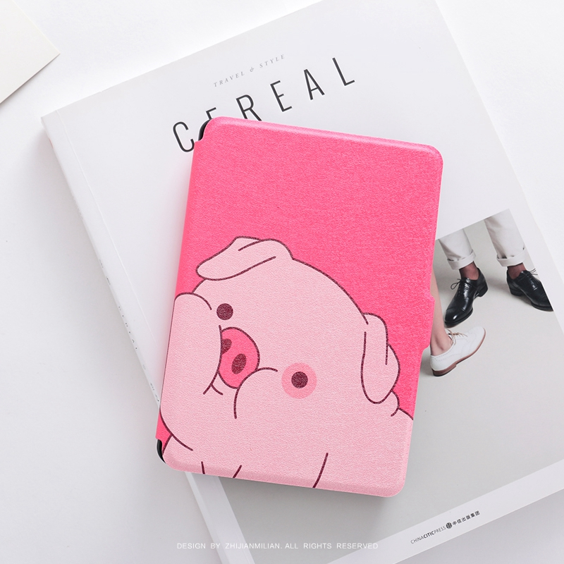 PINK Cute Pig PU Leather Case Flip Cover for Amazon Kindle Paperwhite 1 2 3 449 558 Voyag Case 6 Ebook Ereader Tablet case xx fashion pu leather cute case for amazon kindle paperwhite 1 2 3 6 e books case stand style protect flip cover