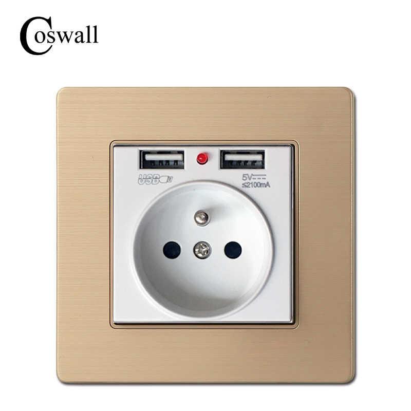 COSWALL 2019 Nova Tomada de Parede Aterrada 16A Francês Tomada Elétrica Padrão Com 2100mA Dual USB Porta Carregador para Celular
