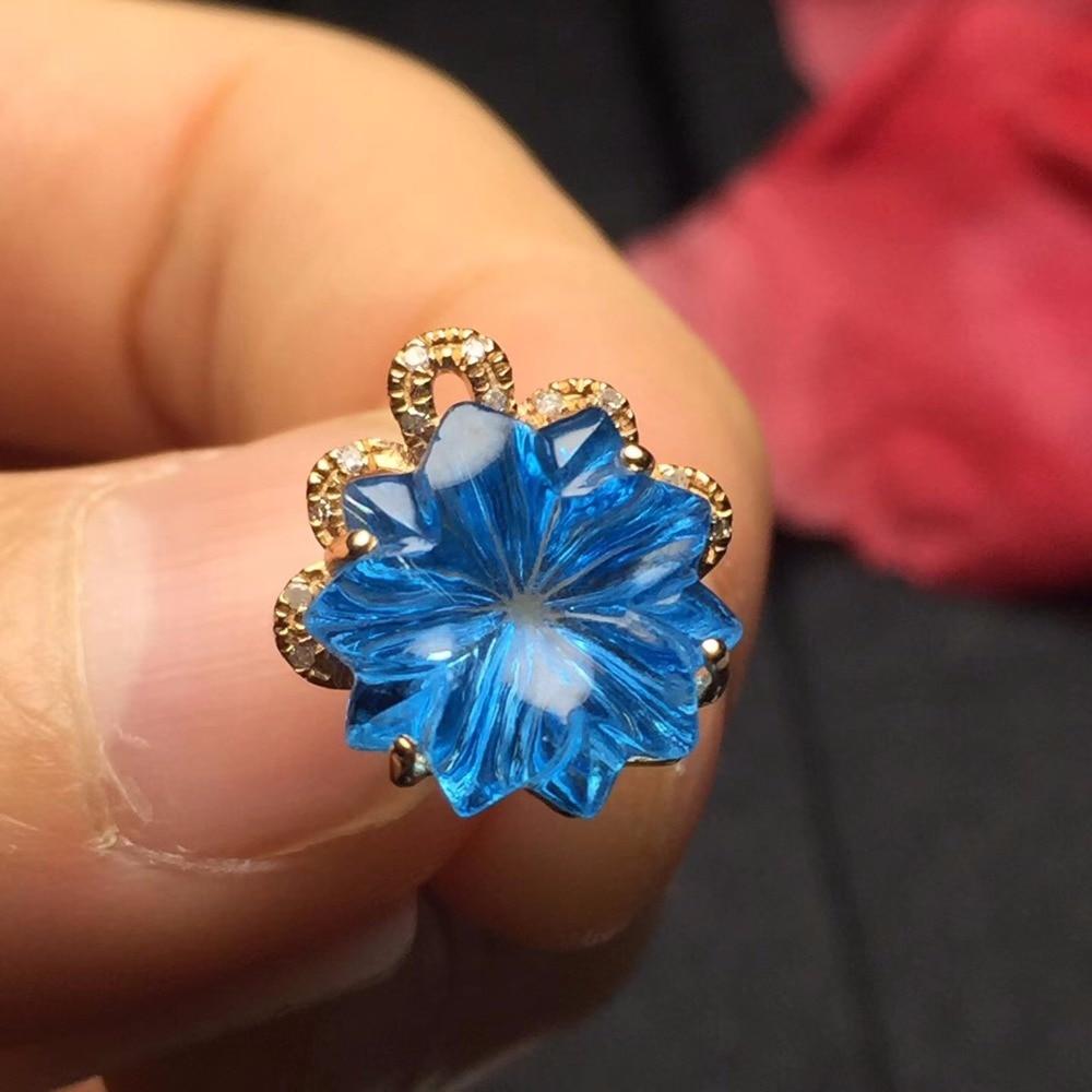 Takı ve Aksesuarları'ten Gerdanlıklar'de Topaz Kolye Güzel Takı Saf 18 K Altın Takı 100% Doğal Mavi Topaz Taş Kolye Kolye Kadınlar Için Güzel Kolye'da  Grup 1