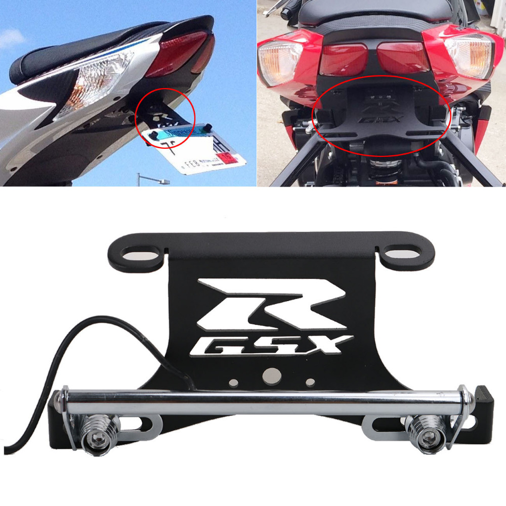 Motorcycle LED License Platel Light Bracket Holder for Suzuki GSX R 600 750 2006-2010 Moto Fender Eliminator Tail Tidy #MX014 for suzuki gsx r600 k6 2006 2007 fender eliminator tail tidy holder motorcycle license plate bracket for suzuki gsxr750 k6