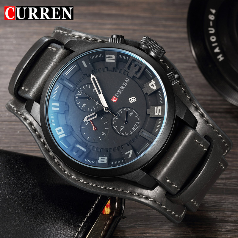 CURREN Top Brand Luxury New Mens Watches Male Clocks Date Sport Military Date Clock Leather Strap Quartz Business Men Watch 8225