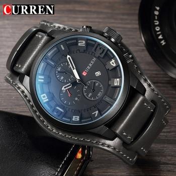 CURREN Top Brand Luxury New Mens Watches Male Clocks Date Sport Military Date Clock Leather Strap Quartz Business Men Watch 8225