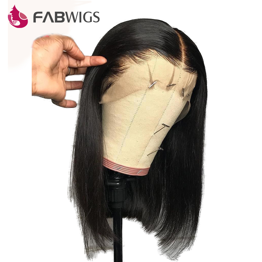 Fabwigs 180% Density Straight Lace Front Human Hair Wigs Bob Wig Malaysian Short Human Hair Wigs For Women Ntural Black Remy