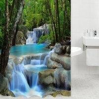 Envío Libre 3D Naturaleza Paisaje Cascada Baño Cortina Blindaje De Tela Resistente Al Agua para Baño