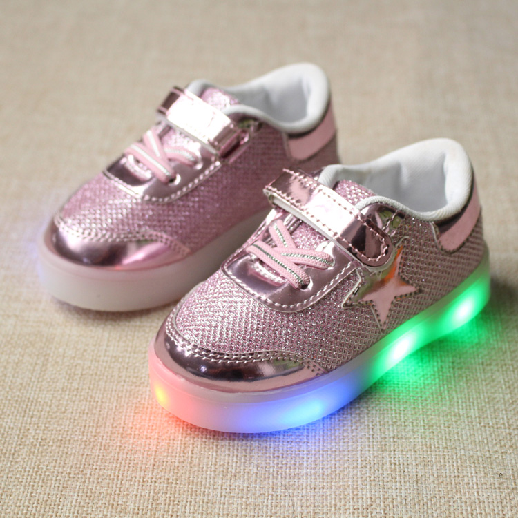 e5e897a735ea Eur21-25   New Baby Children Shoes with LED Light up Shoes Toddler  Anti-Slip Kids Girls boy luminous glowing Sneakers