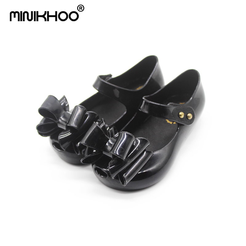 Mini Melissa 2018 New Bow Tie Girl Jelly Sandals Childrens Shoes Non-slip Girl Princess Shoes Melissa Baby Sandals 13.5cm-16cm