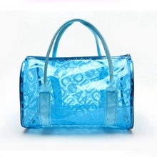 Clear Jelly Handbag 2017 New PVC Bags Bolsas de Praia Transparent Beach Bag Candy Jelly Bag Letter Printed Bolsa Transparente