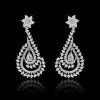 Moda multicolor pptional hoja Austria Crystal Pendientes para las mujeres clear full AAA CZ cristal Piedras pendiente joyas de la boda