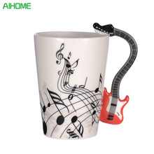 Creative Novelty Guitar Ceramic Personality Music Note Milk Juice Lemon Mug Coffee Tea Cup Home Office Drinkware Unique Gift