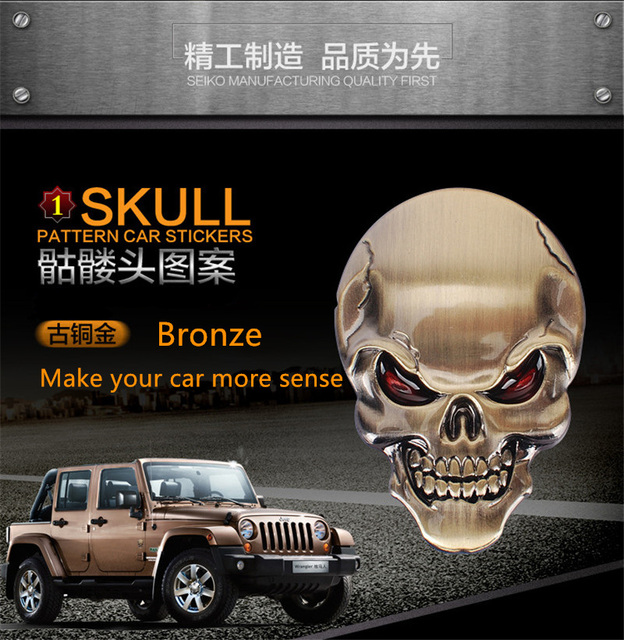 3pcs high quality 3d metal skull emblem stickers diy car styling badge logo automobile stickers