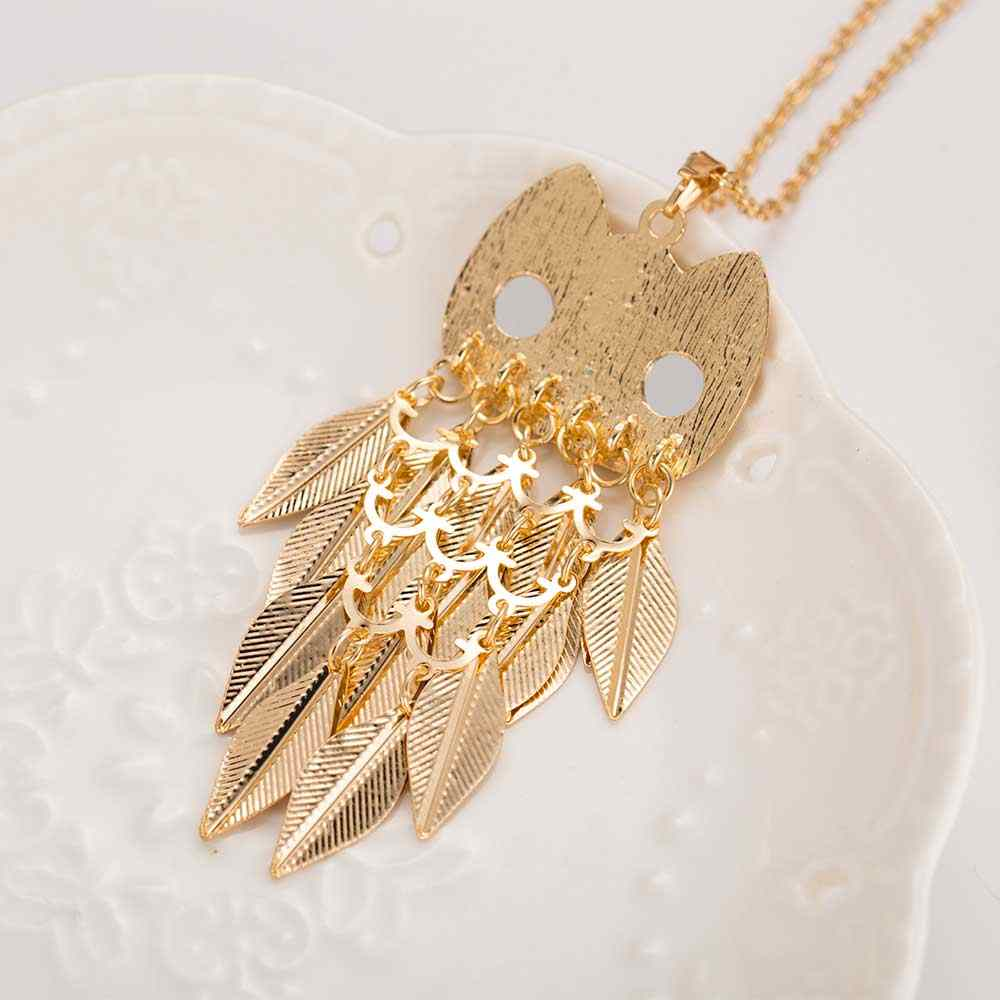 新しいファッショナブルなスタイリッシュなゴールド葉フクロウチャームチェーンロング女性ペンダントネックレス