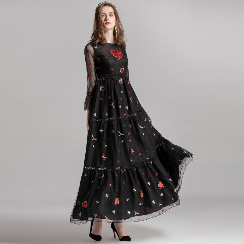high quality Newest Designer fashion runway Maxi dress Women s mesh sequins Patchwork Hollow Out Crystal