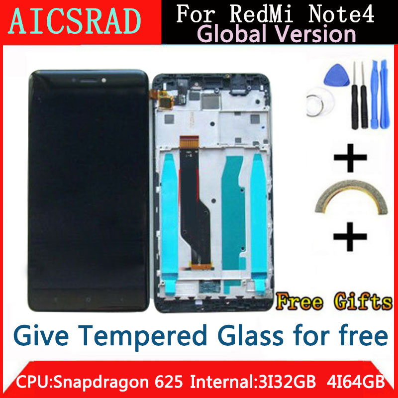 Tested LCD Display +Frame For Xiaomi Redmi Note 4 Global Version Snapdragon 625 Touch Screen LCD Digitizer Redmi Note 4X