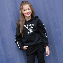 Купить с кэшбэком Girls clothing sweatshirt 100% cotton thickening hooded pullover print 14 15 girl loose winter top child