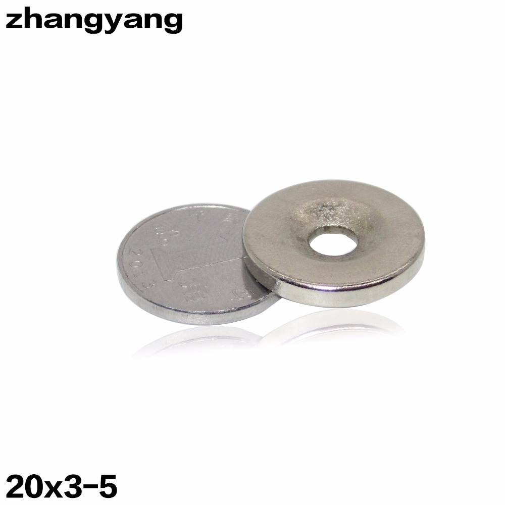 ZHANGYANG 10Pieces/Lot  20 x 3 mm With Hole 5mm Ring Rare Earth Strong Countersunk Neodymium Magnets 5 pieces lot d151811 3210
