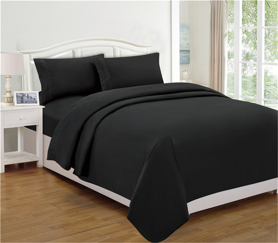 Bedding Set Fitted Sheet Flat Sheet Pillowcase 3/4pcs 1800 Count Deep Pocket Stain Bedding Sets resistant Hypoallergenic Black Colour