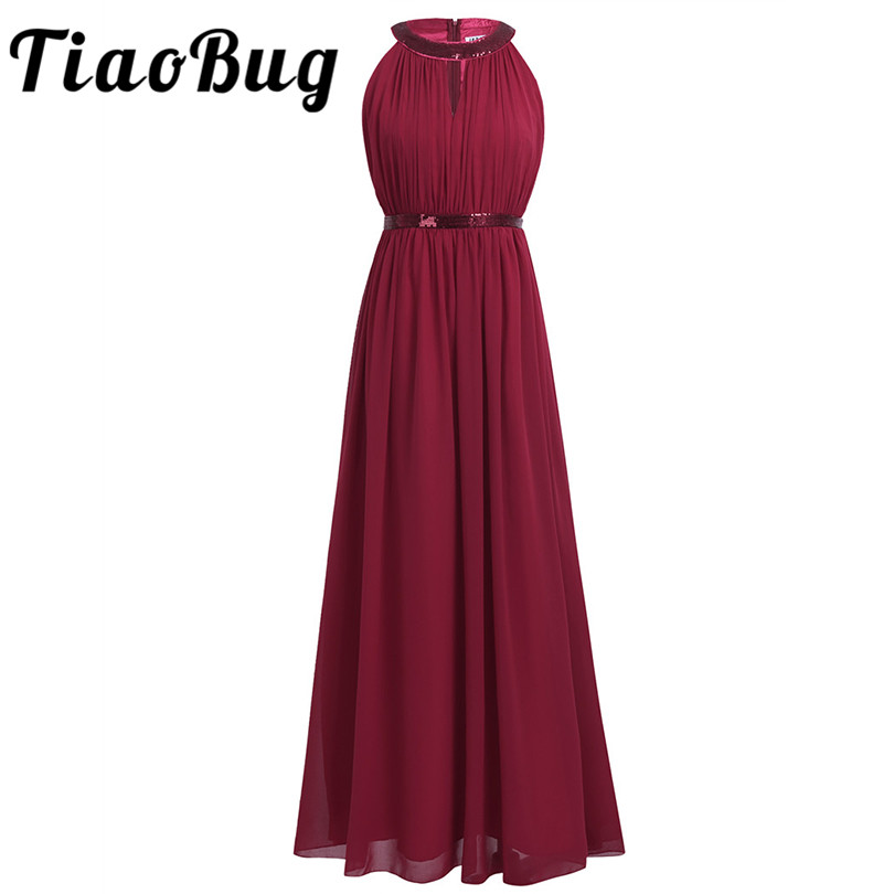 2018 TiaoBug Fashion Women Adult Chiffon Long Bridesmaid Dresses Women Ladies Halter Bridal Maxi Prom Gown Princess Lace Dresses-in Bridesmaid Dresses from Weddings & Events