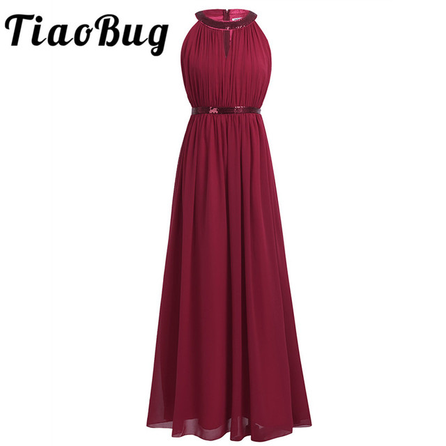 2018 TiaoBug Fashion Women Adult Chiffon Long Bridesmaid Dresses Women Ladies Halter Bridal Maxi Prom Gown Princess Lace Dresses