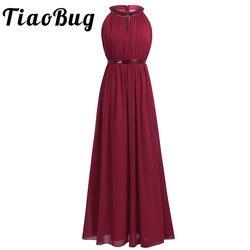 2018 tiaobug moda feminina adulto chiffon longo vestidos de dama de honra das senhoras das mulheres halter nupcial maxi vestido de baile princesa vestidos de renda