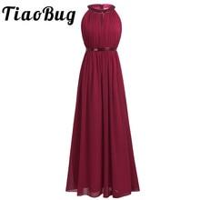 2020 TiaoBug Fashion Women Adult Chiffon Long Bridesmaid Dresses Women Ladies Halter Bridal Maxi Prom Gown Princess Lace Dresses