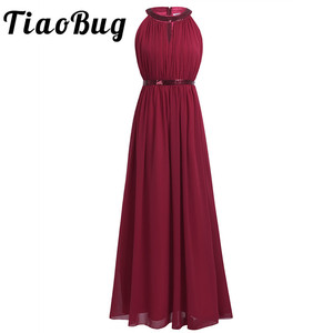 Image 1 - 2020 TiaoBug Fashion Women Adult Chiffon Long Bridesmaid Dresses Women Ladies Halter Bridal Maxi Prom Gown Princess Lace Dresses