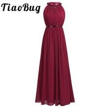 3e25d8a3c57 2018 TiaoBug Fashion Women Adult Chiffon Long Bridesmaid Dresses Women  Ladies Halter Bridal Maxi Prom Gown