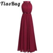 Tiaobug vestidos de dama de honra para mulheres adulto, moda feminina, chiffon, halter, maxi vestido de baile, princesa, renda, 2020