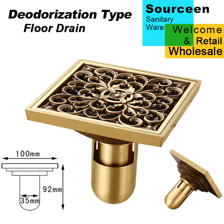Free Shipping Antique Brass Deodorization Type Flower Floor Drain Bathroom Shower Square Drain