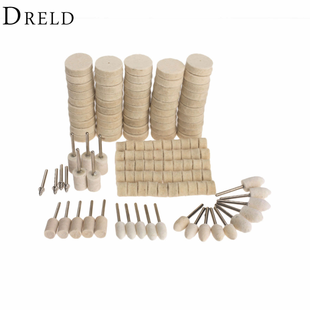 DRELD 129Pcs Dremel Accessories Polishing Wheel Polishing Tools Wool Felt Metal Surface Buffing Polishing Wheel for Rotary Tool 47pcs set wool felt polishing buffing wheel grinding pad 2pc 3mm shank for dremel grinding wheel tool accessories rotary felt