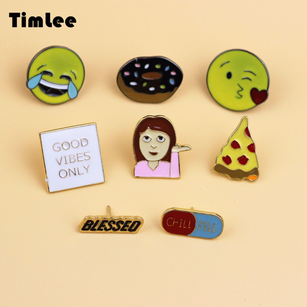 Timlee X217 Lovely Girl Hand Series Corsage Brooch Hamburg Expression Pizza Design Metal Brooch Pins Gift Wholesale TLW