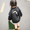 BBK 16 Boys & girls bebê parágrafo casaco jaqueta de couro bonito seção fina da Primavera & Outono Crianças Outerwear Pássaros pretos crianças