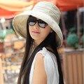 Women's Cotton Beach Sun Hat Fashion Wide Brim Sun Shading UV Protection Bucket Cap Lock Lace Adjustable Foldable Caps