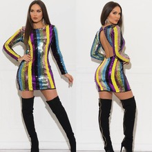 Rainbow Vertical Color Striped Sequins Mini Backless Dress O-Neck Long Sleeve Nightclub Evening Party Dress Female Outfits open shoulder mini vertical striped dress