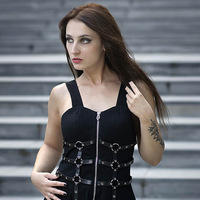 2019 Women Mini Dresses Gothic Chic Vintage Black Punk Metal Chain Zipper Spaghetti Strap Back Fashion Sexy Party Dresse Vestido