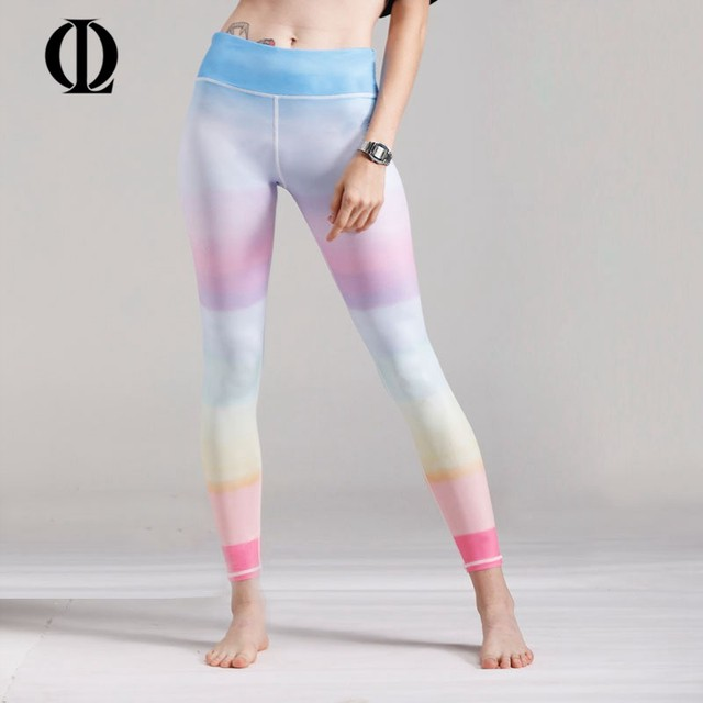 OL Fitness Sport Leggings Women Rainbow Colors Printed Yoga Pants Gym  Sportswear Running Compression Tights New 892dc8370f2a